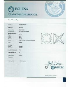 0.70 Ct. EGL Certified JVS1 Princess Cut Diamond.