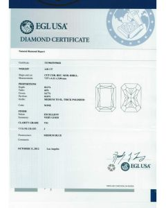 2.01 Ct. EGL Certified JVS1 Radiant Cut Diamond.
