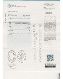 1.01 Ct. GIA Certified FVS1 Oval Shape Diamond.