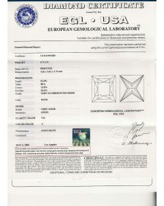 0.71 Ct. EGL Certified GVS1 Princess Cut Diamond.