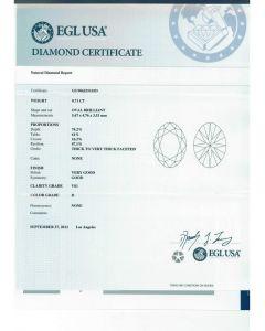 0.71 Ct. EGL Certified HVS1 Oval Shape Diamond.