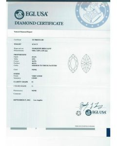 0.74 Ct. EGL Certified GI1 Marquise Shape Diamond.