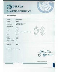 0.91 Ct. EGL Certified HI1 Marquise Shape diamond.
