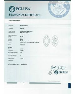 0.92 Ct. EGL Certified DSI2 Marquise Shape Diamond.