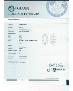 0.70 Ct. EGL Certified ESI3 Marquise Shape Diamond.