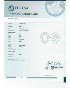 0.69 Ct. EGL Certified GSI3 Pear Shape Diamond.