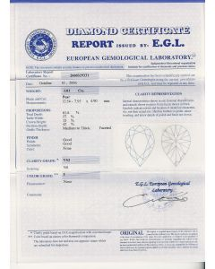 3.01 Ct. EGL Certified IVS2 Pear Shape Diamond.