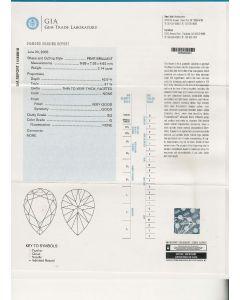 2.14 Ct. GIA Certified GSI2 Pear Shape Diamond.