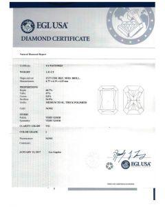 1.51 Ct. EGL Certified IVS1 Radiant Cut Diamond.