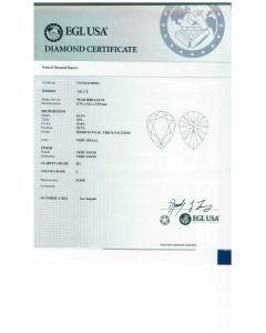 1.01 Ct. EGL Certified GSI1 Pear Shape Diamond.