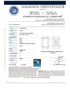 1.03 Ct. EGL Certified EI1 Radiant Cut Diamond.