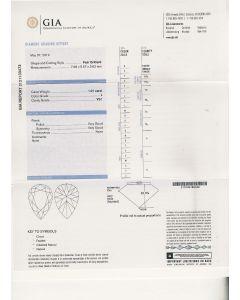 1.01 Ct. GIA Certified LVS1 Pear Shape Diamond.