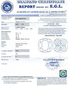 4.04 Ct. EGL Certified JVS1 Cushion Cut Diamond.