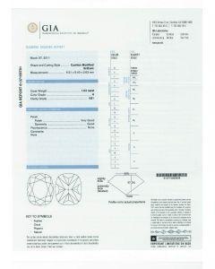 1.03 Ct. GIA Certified HVS1 Cushion Cut Diamond.