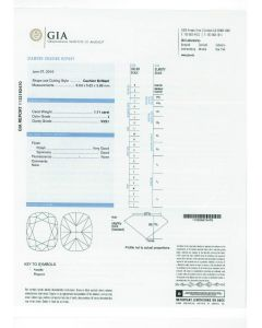 1.11 Ct. GIA Certified JVVS1 Cushion Cut Diamond.