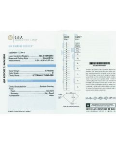 0.70 Ct. GIA Certified DIF Emerald Cut Diamond.