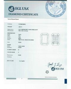 1.00 Ct. EGL Certified FI1 Radiant Cut Diamond.