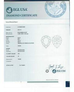 4.01 Ct. EGL Certified HSI2 Pear Shape Diamond.