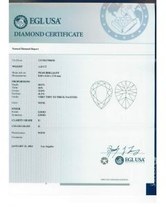 1.25 Ct. EGL Certified HI1 Pear Shape Diamond.