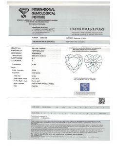 2.26 Ct. IGI Certified GSI2 Heart Shape Diamond.