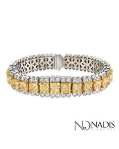 40.43 CT. Total Weight White And Fancy Color Diamond Bracelet.