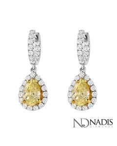 4.09 Ct. Total Weight Fancy Color Diamond Earrings.
