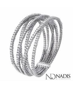 12.50 Ct. Total Weight Round Brilliant Cut Diamond Bangel Bracelet.