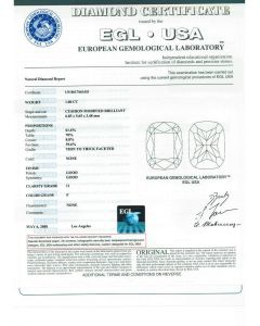 1.00 Ct. EGL Certified F I1 Cushion Cut Diamond.