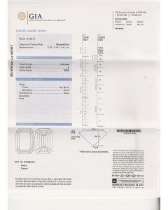 1.00 Ct. GIA Certified E VVS2 Emerald Cut Diamond.