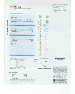 1.00 Ct. GIA Certified D SI1 Emerald Cut Diamond.
