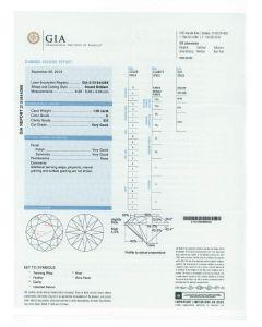1.00 Ct. GIA Certified H SI2 Round Brilliant Cut Diamond.