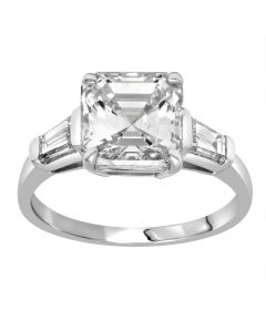 3.02 Ct. Asscher Cut Diamond Engagement Ring.