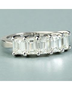 14Kt White Gold 5 Emerald Cut Diamonds 2.60Carat Total Weight Wedding Ring.