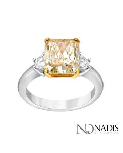 18Kt 2-Tone 3.87 Carat Fancy Color Radiant Cut Diamond 3 Stone Engagement Ring.