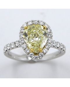 2.06 Ct. GIA Certified Natural, Fancy Yellow Pear Shape Diamond.