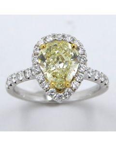 2.06 Ct. GIA Certified Natural, Fancy Yellow Pear Shape Diamond.