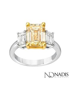 18Kt 2-Tone 3 Emerald Cut 4.51 Carat Total Weight Engagement Ring.