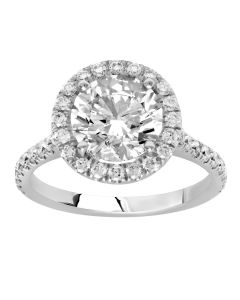 2.27 Ct. Round Brilliant Cut Diamond Halo Engagement Ring.