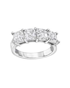 Platinum 4 Asscher Cut GIA Certified Diamonds 3.81 Carat Total Weight Wedding Ring.
