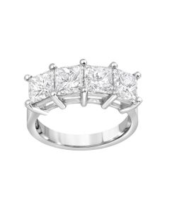 Platinum 4 One Carat Each GIA Certified Princess Cut Diamonds Wedding Ring.