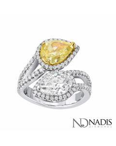 2.01 Ct. GIA Certified Natural Fancy Vivid Yellow Pear Shape Diamond.